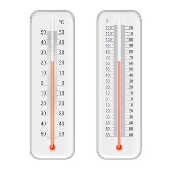 Conjunto de termômetros de meteorologia realista