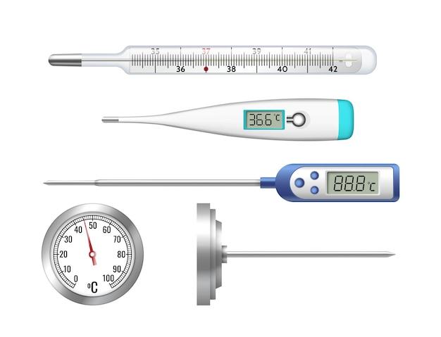 Conjunto de termômetros realistas de mercúrio clássico, eletrônico, termômetro