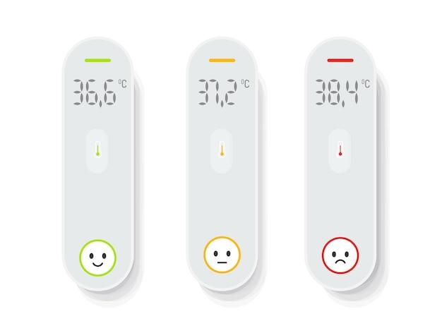 Conjunto de termômetros sem contato isolados. coleção de verificação de temperatura médica.