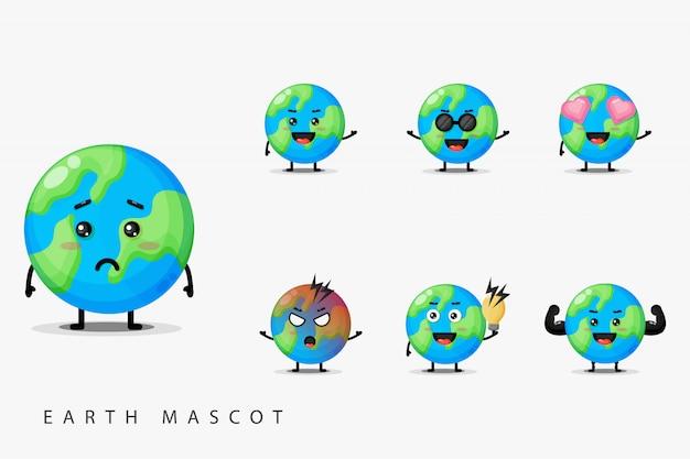 Conjunto de terra bonito mascote