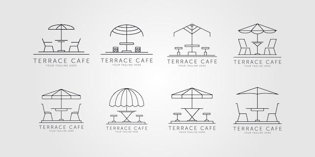 Conjunto de terraço ícone linha arte logotipo vetor design de ilustração minimalista