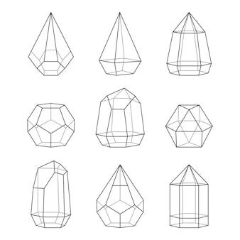 Conjunto de terrários de estilo de linha para plantas suculentas. isolado em fundo branco
