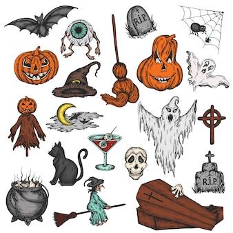 Conjunto de terror colorido halloween feriado dos desenhos animados