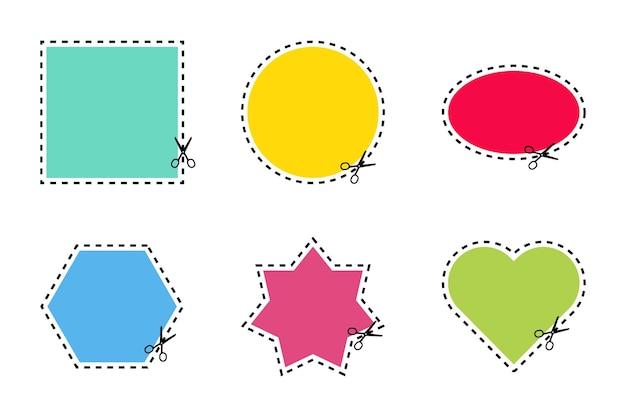 Conjunto de tesouras de corte de formas e linhas de cores diferentes em fundo branco. corte o cupom. ilustração vetorial.