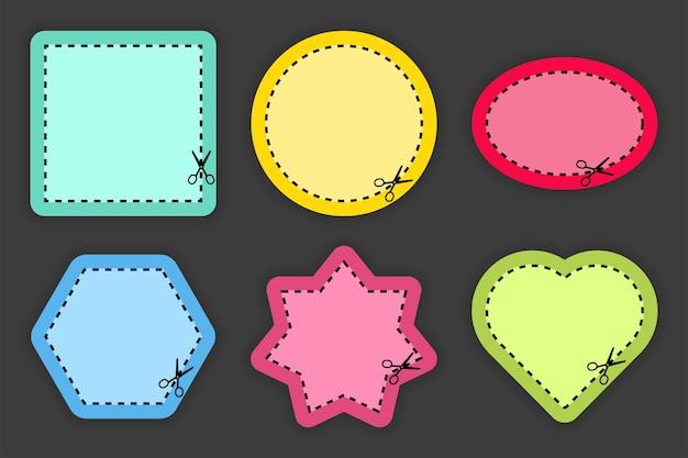 Conjunto de tesouras de corte de formas e linhas de cores diferentes em fundo preto. corte o cupom. ilustração vetorial.