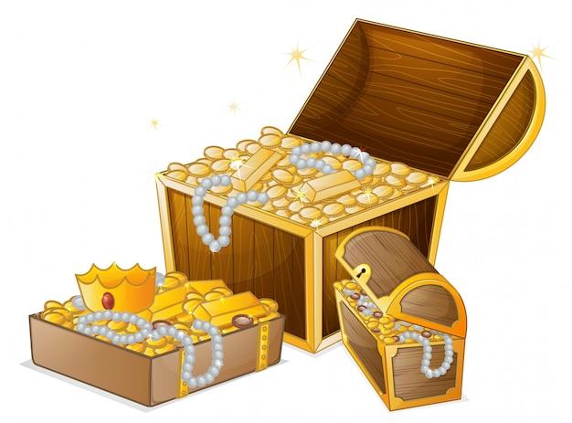 Conjunto de tesouro de ouro