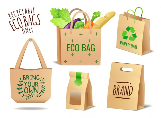 Conjunto de têxteis, linho e papel eco sacos conjunto, sem embalagem plástica, problema de poluição