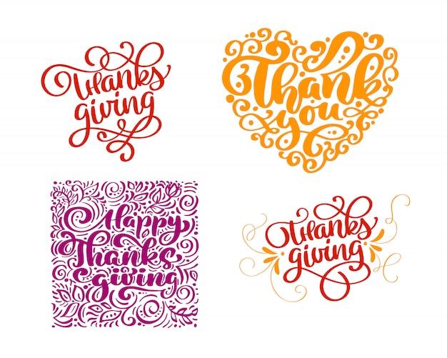 Conjunto de texto de caligrafia obrigado por feliz dia de ação de graças