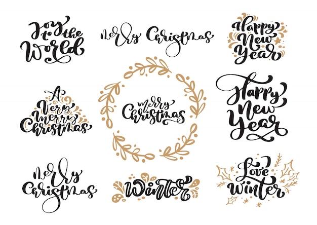Conjunto de texto de rotulação de caligrafia vintage de feliz natal