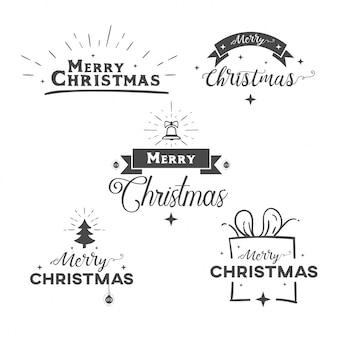 Conjunto de texto decorativo do feliz natal