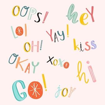 Conjunto de texto doodle palavra tipografia colorida