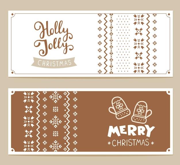 Conjunto de texto feliz natal e padrão de tricô