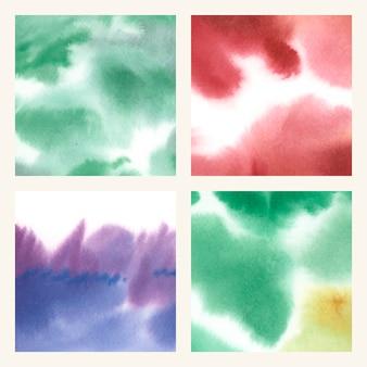 Conjunto de textura abstrata aquarela colorida mancha