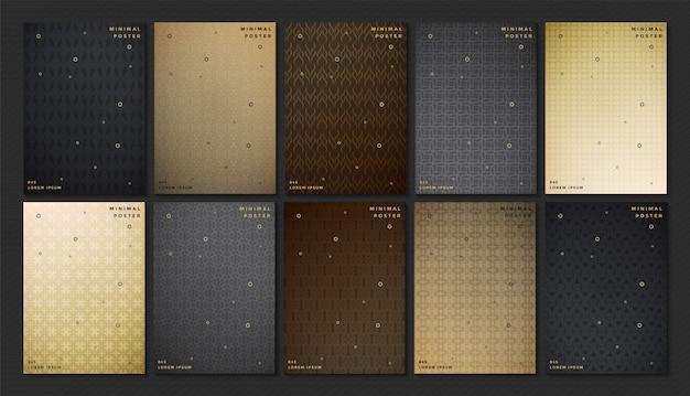 Conjunto de textura abstrata cor escura padrão para capa de livro modelo vector