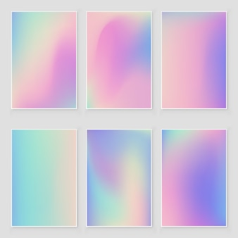 Conjunto de textura abstrata folha iridescente holográfica. estilo moderno