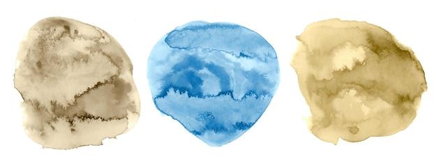 Conjunto de textura aquarela circular pintada à mão