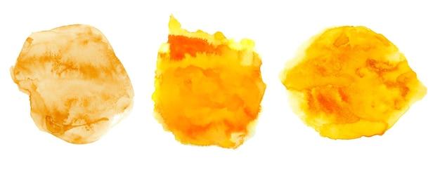 Conjunto de textura aquarela círculo pintado à mão amarelo