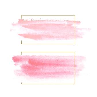 Conjunto de textura aquarela natural bege em uma moldura de ouro. fronteira de linha de luxo dourado para convite