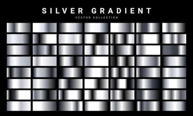 Conjunto de textura de folha de prata. modelo de gradiente de metal.