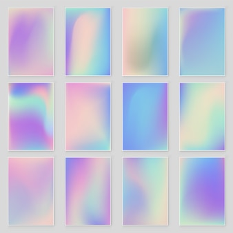 Conjunto de textura de folha iridescente holográfica abstrata tendências de estilo moderno 80s 90s.