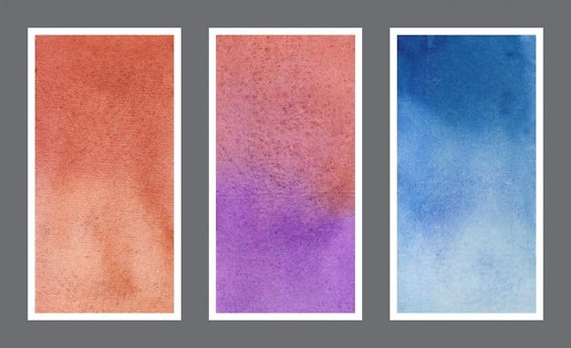 Conjunto de textura de fundo aquarela banner abstrato