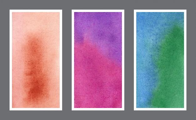 Conjunto de textura de fundo aquarela de banner web