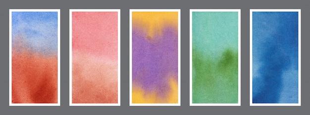 Conjunto de textura de fundo de banner de web em aquarela abstrata