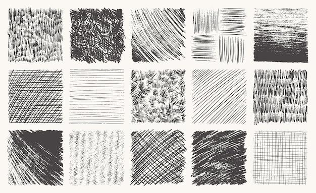 Conjunto de textura de lápis de esboço caneta efeito de hachura preto rabisco giz grunge vetor à mão livre