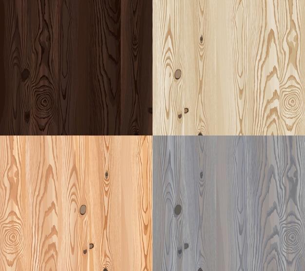 Conjunto de textura de madeira vetorial com padrão natural