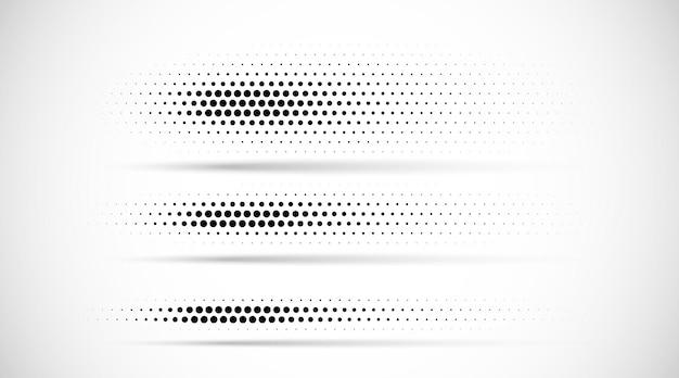 Conjunto de textura de padrão gradiente de pontos de meio-tom isolado