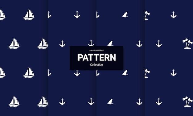 Conjunto de textura de padrões sem costura náuticos azuis