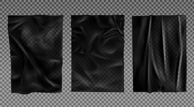 Conjunto de textura de papel molhado preto