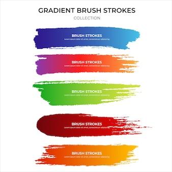 Conjunto de textura de pinceladas gradientes