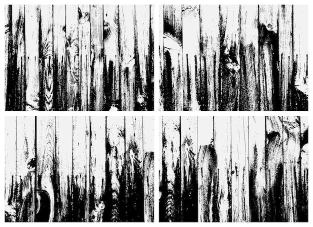 Conjunto de textura de prancha de madeira. textura preto e branco. sobreposição de textura de metal enferrujado.