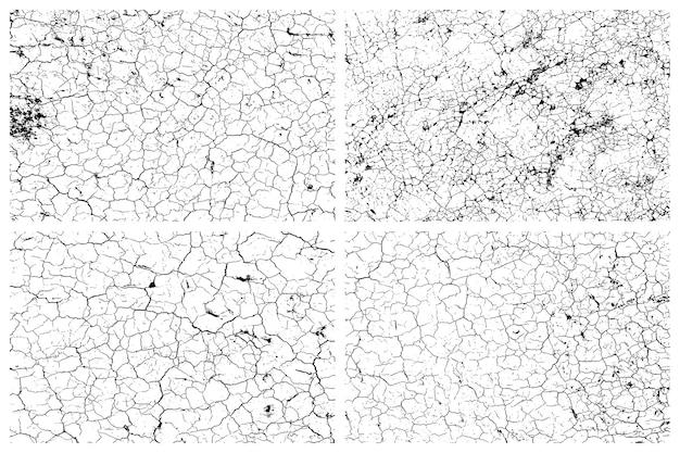 Conjunto de textura de terra rachada seca