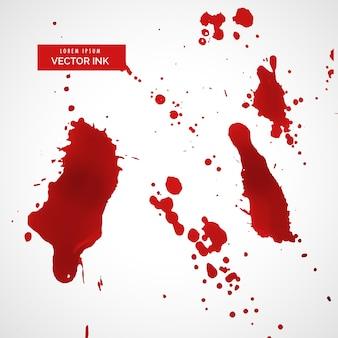 Conjunto de textura de tinta vermelho ou mancha de sangue
