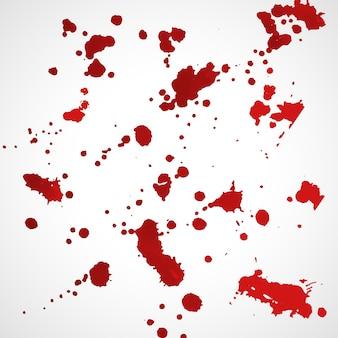 Conjunto de textura grunge splatter de tinta vermelha