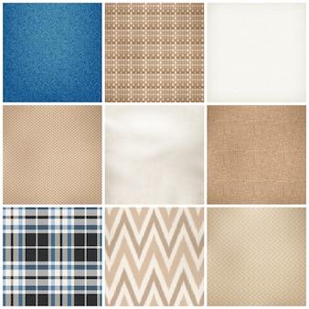 Conjunto de textura realista de padrões têxteis