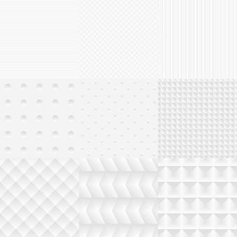 Conjunto de texturas brancas de vetor simples e sem costura