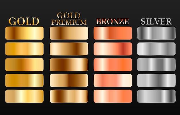 Conjunto de texturas de bronze ouro prata. conjunto de gradiente metálico