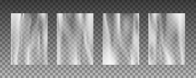 Conjunto de texturas de fundo transparente urdidura de plástico.