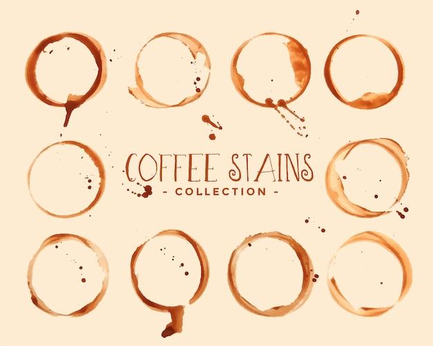 Conjunto de texturas de mancha de copo de café