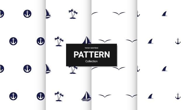 Conjunto de texturas de padrões sem costura azul claro