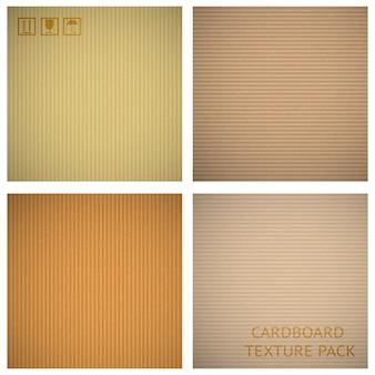 Conjunto de texturas de papelão. papel de fundo de desenho animado, material de padrão macro closeup, ilustração vetorial