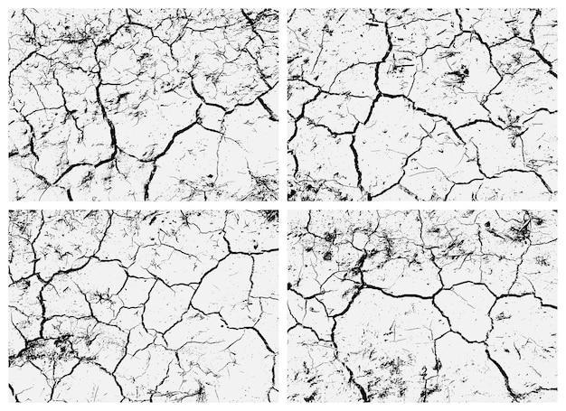 Conjunto de texturas de terra rachada