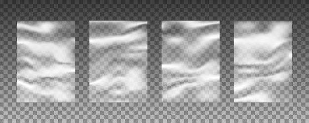 Conjunto de texturas de urdidura de plástico transparente.