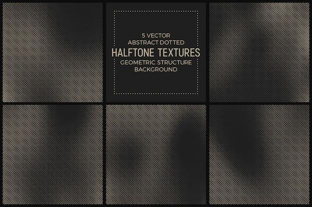 Conjunto de texturas diferentes de meio-tom abstrato