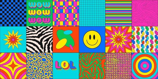 Conjunto de texturas e cenários abstratos na moda dos anos 90. desenho vetorial de fundos modernos do estilo dos desenhos animados. arte colorida hipster.