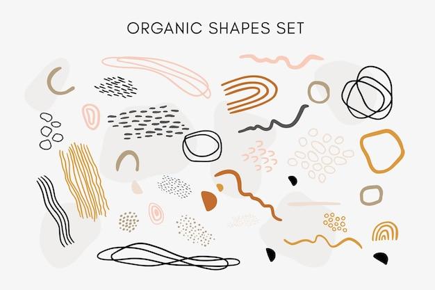 Conjunto de texturas, linhas, formas e elementos orgânicos abstratos desenhados à mão