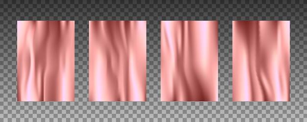 Conjunto de texturas realistas 3d de folha de ouro rosa